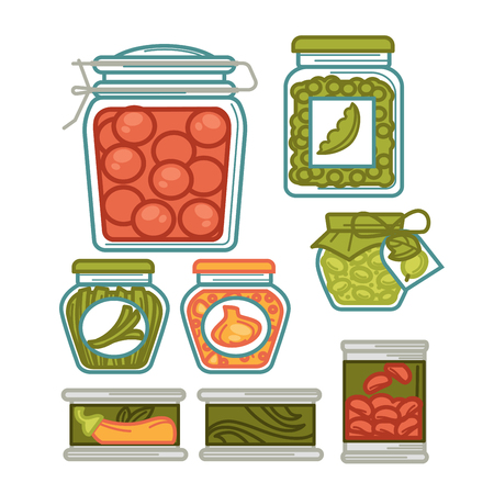 Preserves vegetables food and pickles in jar glass pots. Homemade pickled tomatoes, gherkin cucumbers and green peas or beans, olives and onion. Vector isolated flat icons set Illustration