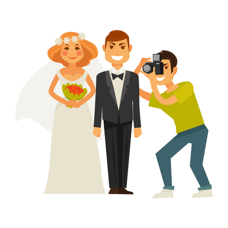 Wedding photographer taking photography with camera of couple bride and groom. Vector flat icons of man and woman on photo shoot Illustration