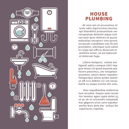 House plumbing for kitchen or bathroom. Vector poster or infographics template of household appliances bathtub or sink and toilet, water heater or sewage pipe and plumber leakage repair tools Illustration