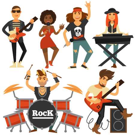percussionist: Rock music band singer, bass guitarist and percussion player vector flat icons.