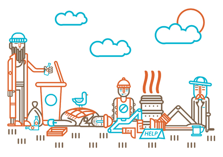 Homeless people and beggars on street vector flat line design Illustration