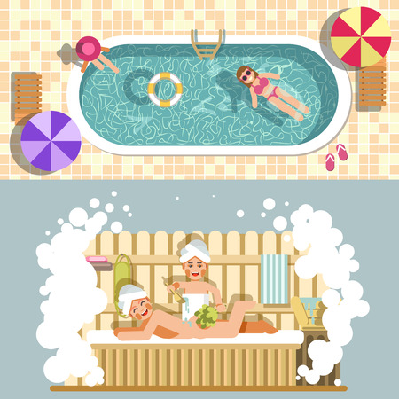 water: Sauna and swimming pool vector flat spa relax or summer holiday vacations