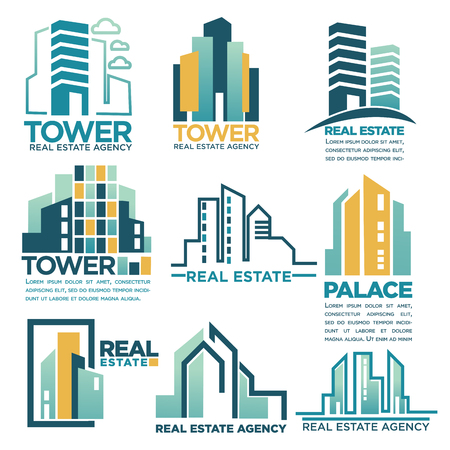 Real estate agency or company vector skyscrapers buildings houses icons templates Illustration