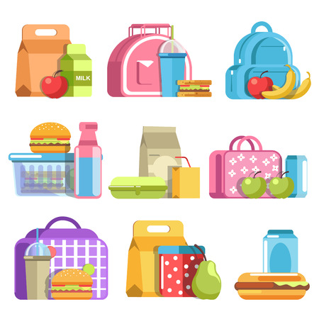 School lunch and meal boxes, containers and bottles, vector flat isolated icons