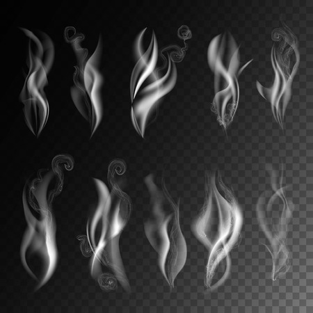 Smoke realistic 3D vector icons on transparent background. Set of wavy cigarette smoking fume or aromatic vapor haze from fire or hot water steam Illusztráció