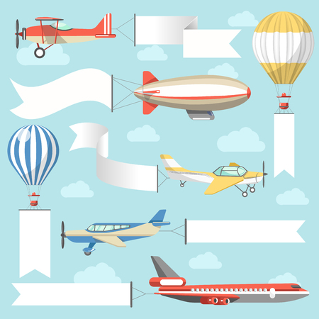 outdoor advertising construction: Flying air advertising media vehicles and constructions vector flat icons set
