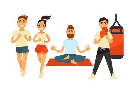 punching: People fitness and sport exercise or training vector icons Illustration