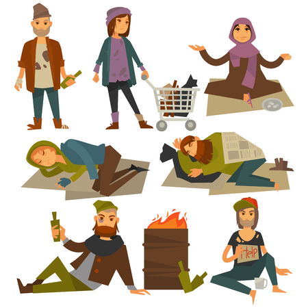 alms: Beggars and bum or vagrant homeless people vector flat isolated icons. Illustration