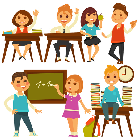 Children in school study at lessons vector flat isolated icons Illustration