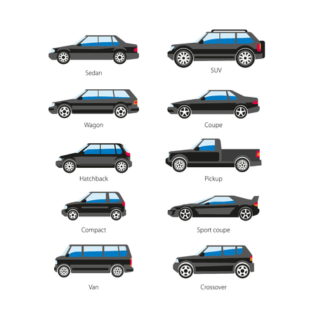cabrio: Car or automobile body type names vector flat isolated icons set