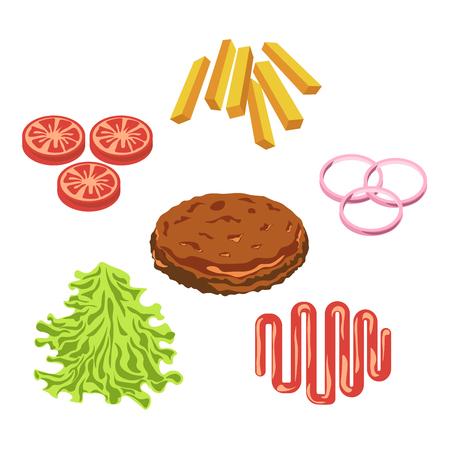 Burger hamburger or cheeseburger fast food ingredients constructor fastfood restaurant vector icon
