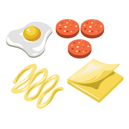 Sandwich fast food ingredients constructor fastfood vector flat isolated icons