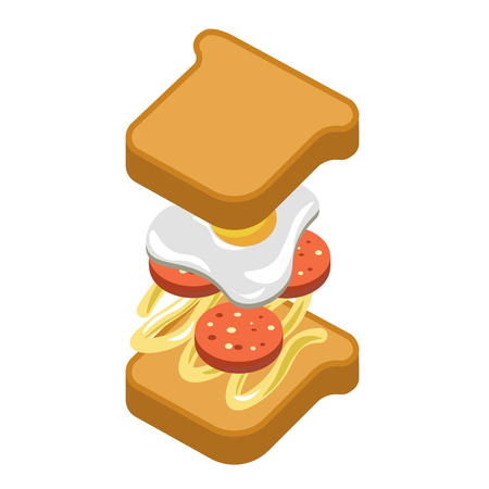 Sandwich burger fast food ingredients constructor fastfood vector flat icon Illustration