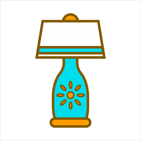 lighten: Table lamp graphic close up colorful vector illustration.