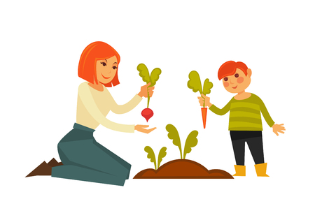 A mother and son pulling carrot and beet from the ground.