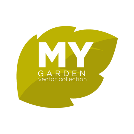 image: My garden vector collection emblem with green leaf