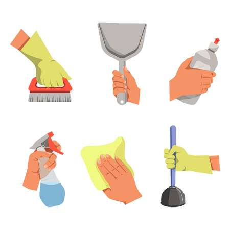Hands holding different tools for cleaning illustrations set.