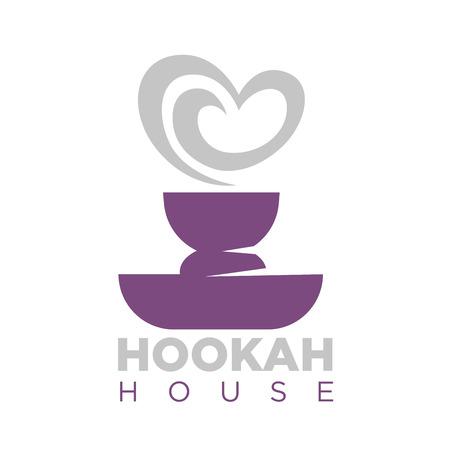 Hookah Haus Emblem mit Shisha Schüssel und Rauch.