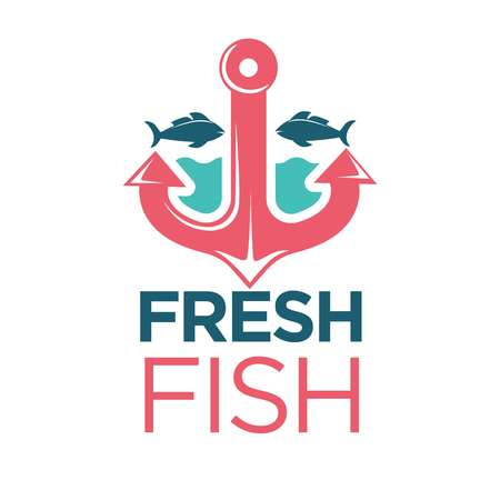 Fresh fish emblem with red anchor isolated illustration