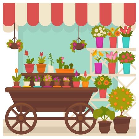 Handel tent met mooie bloemen in potten illustratie