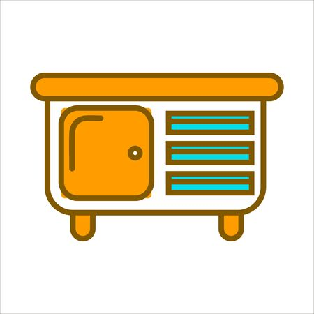 convenient: Orange commode with small drawers and big shelf