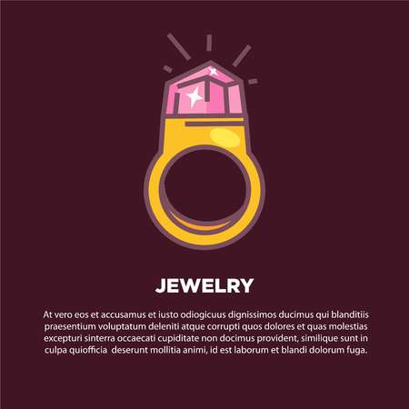style: Jewelry cartoon poster with gold ring and discription
