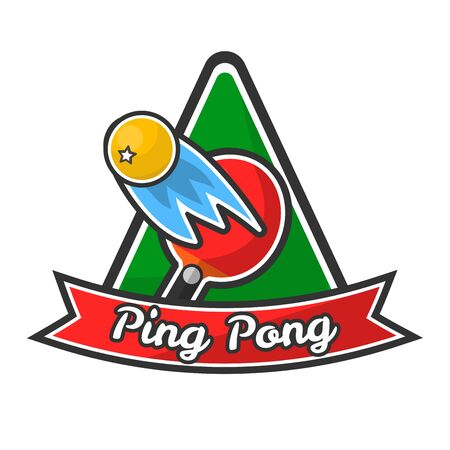 Ping pong logotype with red racket and yellow ball