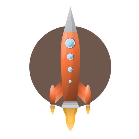 Orange space rocket with blue portholds on brown circle