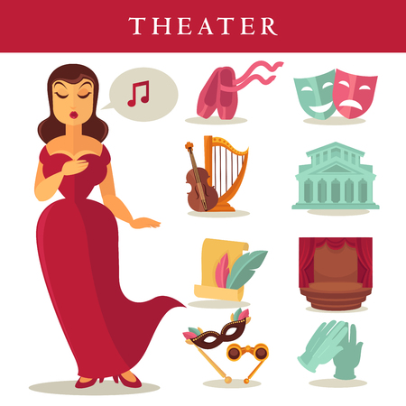 Theater or opera vector flat icons singer, ballet and stage