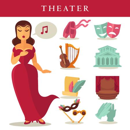 Theater oder Oper Vektor flache Ikonen Sänger, Ballett und Bühne Standard-Bild - 79649443