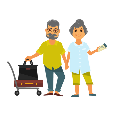 aged: Senior couple holding hands stands near bags for travelling Illustration