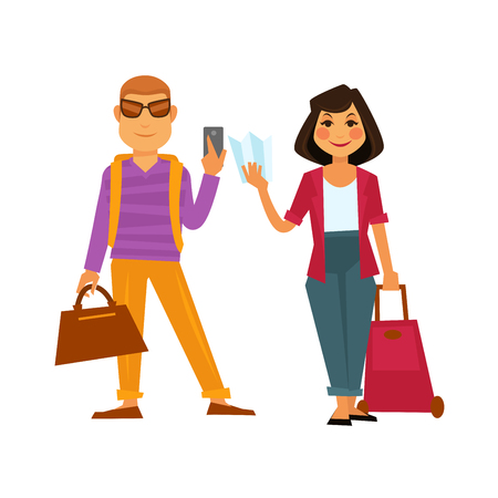 People travel vector flat icons man and woman on holiday vacation trip