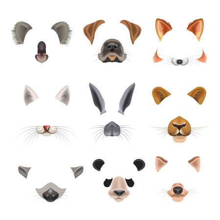 mobile: Video chat effects animal faces flat icons templates of dog, rabbit, cat