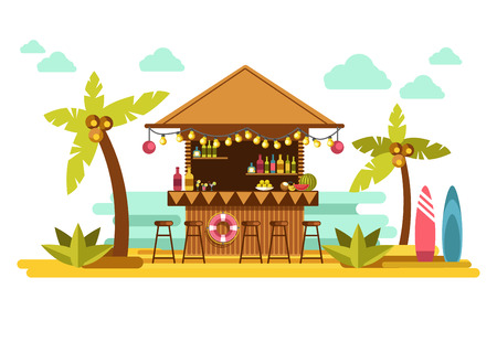Beach bar cocktails in tropical resort for summer holiday vacations vector flat