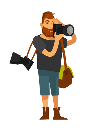 Man takes photo by camera near eye isolated on white Illustration
