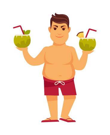 Man at summer beach on holiday vacations vector flat cocktails