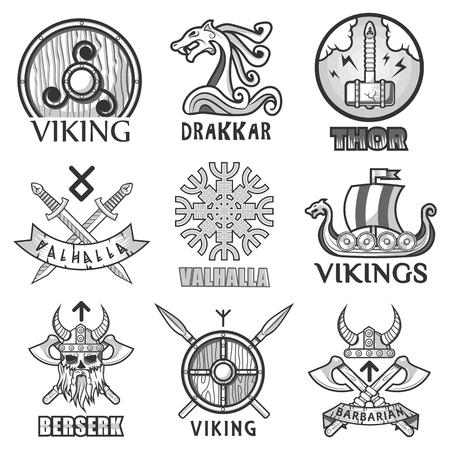 Navires anciens scandinaves Viking expédier, boucliers d'armes et icônes de symboles casque Vecteurs