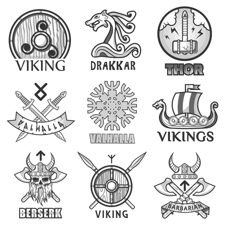 Viking scandinavian ancient warriors ship, arms shields and helmet symbols icons set Illustration