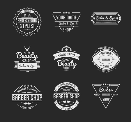 beauty shop: Set of vintage barber shop logo and beauty spa salon badges. Vector elements. Isolated icons on dark background. Illustration