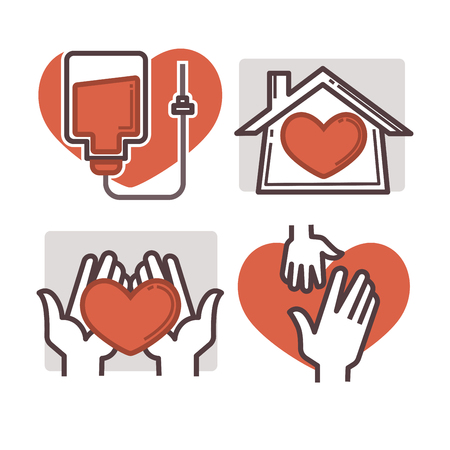 charity collection: Donation and volunteer work icons. Symbols or logo of human care, assistance for health, help and hope sign, medical charity and blood giving. Flat design elements in red color.
