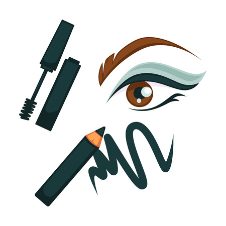 Eye make up poster in dark colors with all necessary cosmetic tools. Vector colorful illustration in flat design of closeup mascara and eye pencil near beautifully painted female eye and eyebrow. Illustration