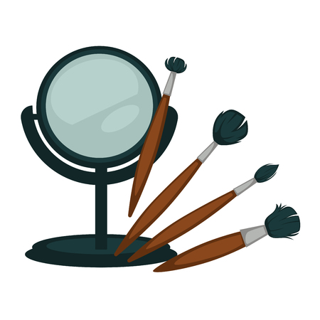 Compact mirror and fluffy brushes for make up set Illustration