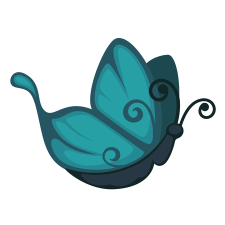 Blue cartoon butterfly with curled antennae and pattern on wings of unusual form from side view isolated vector illustration on white background. Unique fauna species that lives in tropical countries. Illustration