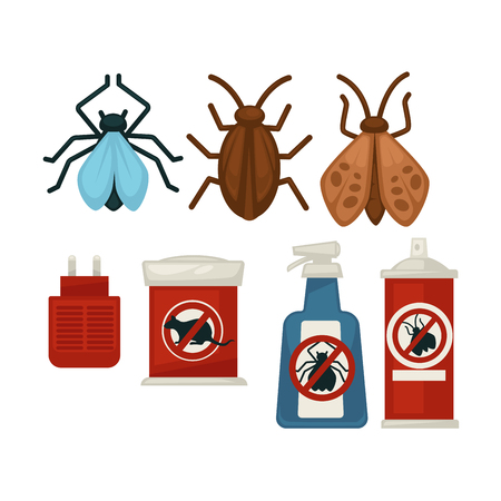 Anti pests warning signs on products and insects above