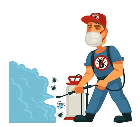Exterminador en la máscara aerosoles sustancia química contra los insectos