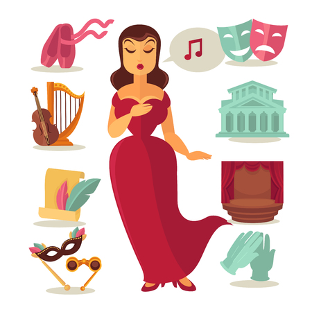 entertainer: Vector illustration different theater elements and singing woman isolated on white. Illustration