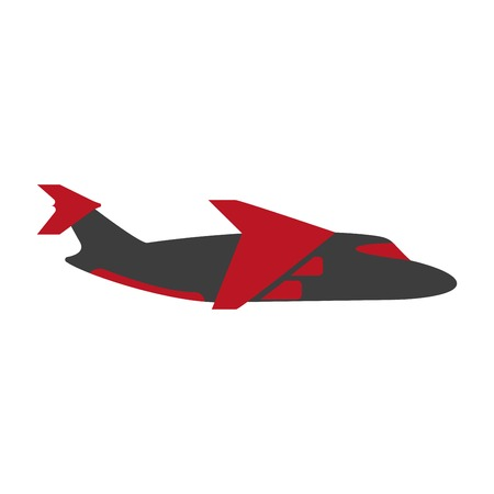 view: Vector illustration of red and black flying jet in side view.