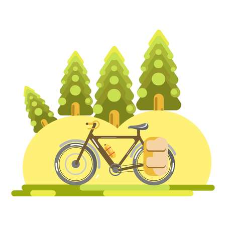 rural road: Vector illustration of a bicycle with touristic equipment in the woods. Illustration