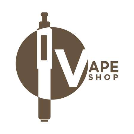 Vector illustration of vape shop emblem with electronic cigarette isolated on white.