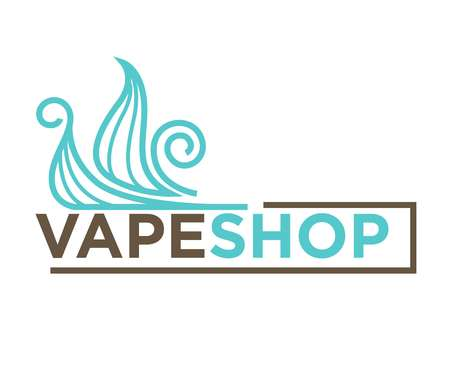 Vector illustration of blue colored clouds and vape shop words isolated on white. Illustration